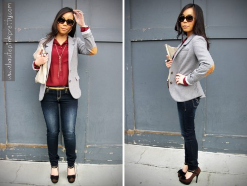 An Dyer in Buffalo David Bitton Felow Skinny Jeans, H&M Grey Sport Coat, TopShop Burgundy Chiffon Blouse, JC Penney Owl Ring, American Apparel Clutch, Fendi Sunglasses, Sole Society Carrie in Brown