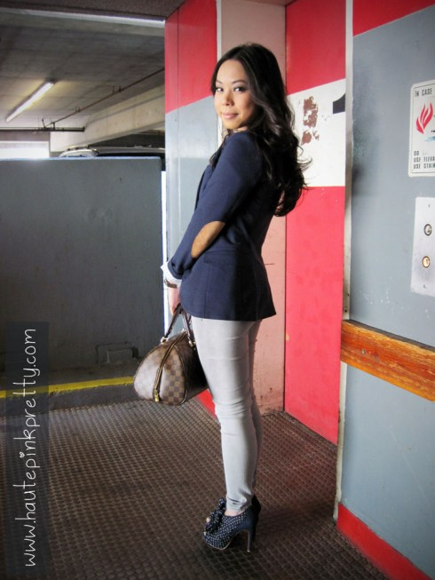An Dyer in H&M Navy Sport Coat, Brass Plum Tee, Foreign Exchange Grey Jeggings, Forever 21 Necklace, Louis Vuitton Ribera Mm, Sole Society Karla 2