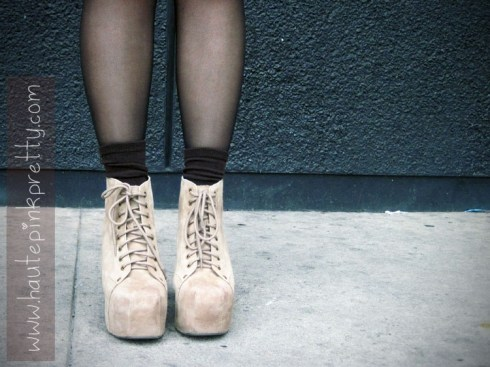Jeffrey Campbell Taupe Suede Lita's with Brown Ankle Socks and Black Tights