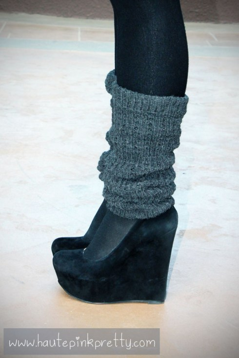 An Dyer in Black Baker Maddie Wedges with tights and grey leg warmers