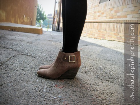 An Dyer in SoleSociety Heather Boots with Black Tights