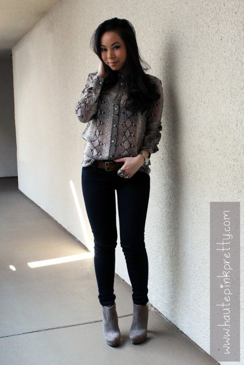 An Dyer in Zara Snakeskin Chiffon Blouse, DKNY Leather Moto Jacket, Forever 21 Suedette Belt, Levi's The Legging Jeans, BCBGeneration Joesana Bootie, Decree Rings
