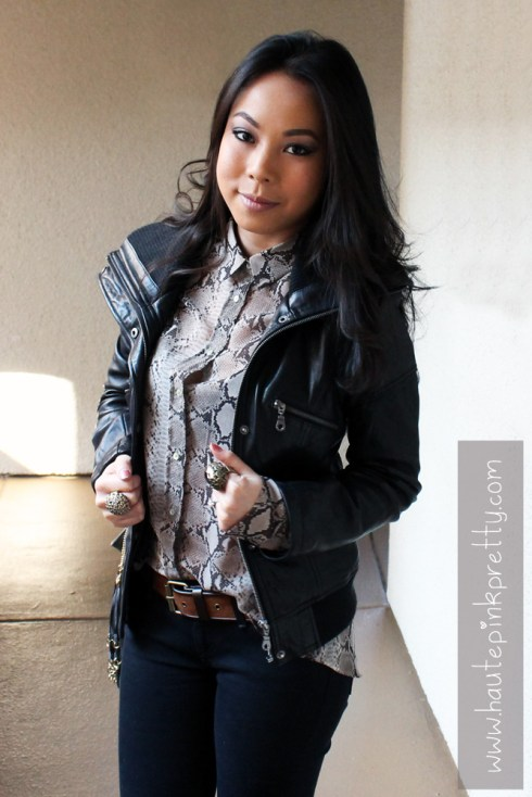An Dyer in DKNY Leather Moto Jacket, Zara Snake skin Chiffon Blouse, Forever 21 Suedette Belt, Levi's The Legging Jeans, Decree Rings