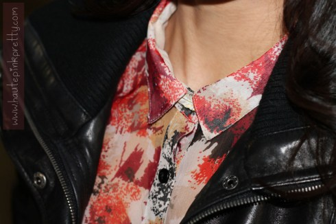 An Dyer in Staring At Stars Chiffon Button-Down Shirt, DKNY Leather Bomber Jacket, Forever 21 Feather Necklace