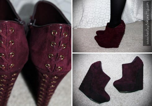 An Dyer wearing ShoeMint Pauline in Wine with Black Tights