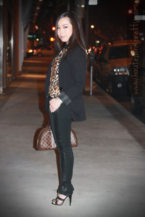 Express Boyfriend Blazer, Zara Leopard Blouse with Contrasting Collar, Zara Trousers, Jimmy Choo Serena Waxed Leather Sandals, Louis Vuitton Ribera Mm, JewelMint Polar Ends Bracelet