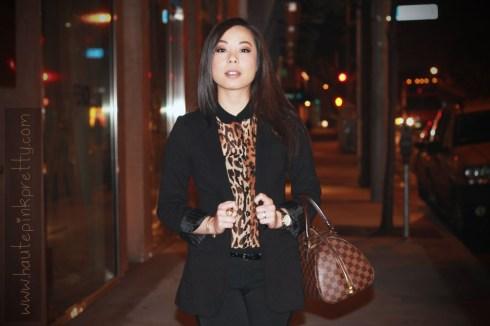 Express Boyfriend Blazer, Zara Leopard Blouse with Contrasting Collar, Zara Trousers, Jimmy Choo Serena Waxed Leather Sandals, Louis Vuitton Ribera Mm, JewelMint Polar Ends Bracelet