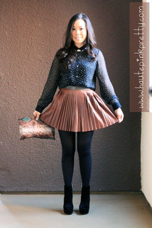 An Dyer in Zara Star Blouse and Snakeskin Clutch, Forever 21 Silver Collar Necklace, Blossom and Clover Brown Faux Leather Pleated Skirt, Black Tights & Dolce Vita Jemma