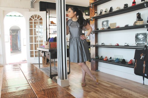 An Dyer at Moo Venice in Phillip Lim Dress, Michael Kors Mother of Pearl Chronograph Watch and Moo Venice Shoes