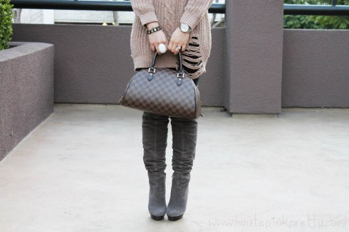 An Dyer in Chunky Oversized Cable Knit Sweater, Baker's OTK Suede Taupe Boots, Louis Vuitton Ribera Mm, Decree White Stone Ring, JewelMint Polar Ends Bracelet