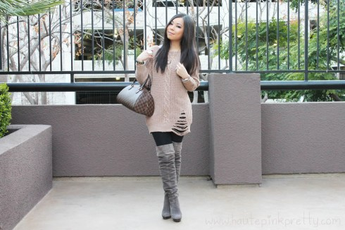 An Dyer in Chunky Oversized Cable Knit Sweater, Baker's OTK Suede Taupe Boots, Louis Vuitton Ribera Mm & Transparent Monogram Inclusion Translucide Pendant, Decree White Stone Ring, JewelMint Polar Ends Br