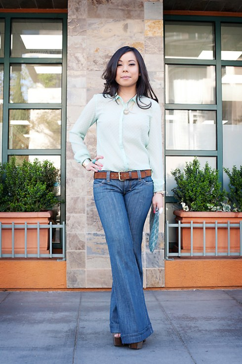 Zara Mint Swiss Dot Shirt | Frankie B Wide Leg Jeans | Forever 21 Suedette Belt & Gold Cuff | Jessica Simpson Dany Shoes | Jeffrey Lazaro Shell Print Clutch | Louis Vuitton Transparent Monogram Inclusion Translucide Pendant Necklace | Banana An Turquoise Ring