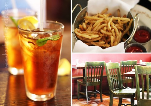 The Farm of Beverly Hills Iced Tea, Crisp Farm French Fries, Farmhouse Chairs