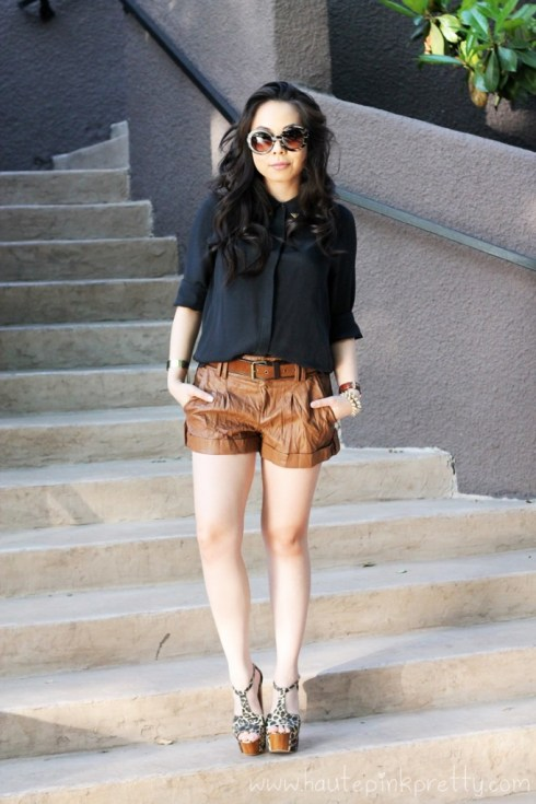 HautePinkPretty An Dyer wearing Zara Metal Tip Black Silk Shirt, Forever 21 Suede Belt and Crinkle & Cuffed Shorts, Prada Baroque Round Runway SS11 Sunglasses, Michael Kors Parker Chronograph Leather Watch, Spiked Bracelets & Gold Chain Cuff, Jessica Simpson Dany Platform Sandals in Leopard