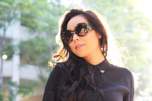 HautePinkPretty An Dyer Zara Metal Tip Black Silk Shirt, Prada Baroque Round Runway SS11 Sunglasses