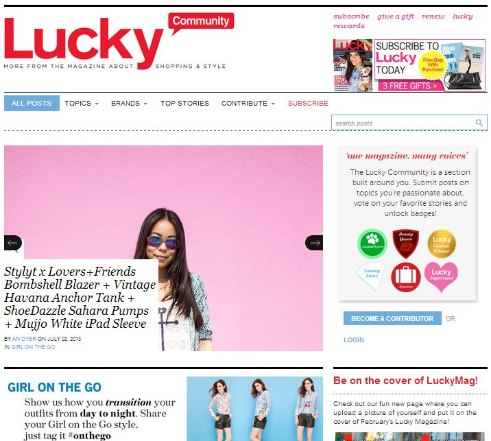 Lucky Mag Front Page