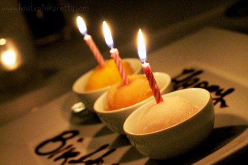 Petrossian West Hollywood - Sorbet Trio with Birthday Candles