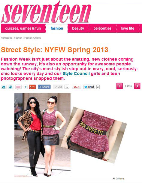 HautePinkPretty featured on Seventeen Magazine Street Style NYFW Spring 2013