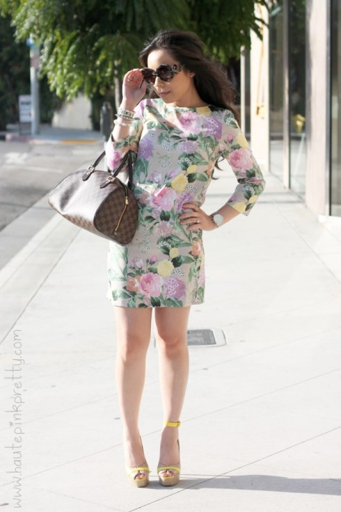 www.HautePinkPretty.com - An Dyer wearing H&M Floral Shift Dress, Prada Round Baroque Sunglasses, Silver Spike Bracelet, ShoeDazzle Privy Platforms, Louis Vuitton Ribera Mm,  the Jomsy Ankle Bracelet in Yellow
