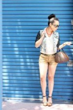 www.HautePinkPretty.com - An Dyer TopShop Cream Chiffon Side Tuck Blouse, Zara Leather Acid Denim Combined Jacket,Forever 21 Gold Metallic Shorts, ASOS Smile Skinny Waist Belt, SoleSociety Val Sandals, Seen Global Lola Kenya Necklace, Prada Baroque Round Sunglasses, Louis Vuitton Damier Ribera Mm, Glint & Gleam Sideways Cross Shambala Bracelet from ShopLately, Michael Kors Parker Leather Chronograph Watch