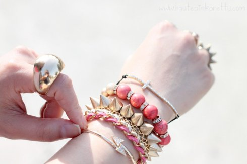 www.HautePinkPretty.com - An Dyer wearing Forever 21 Gold Dome Ring, Gold Mustache Necklace, Glint & Gleam Pink Beautiful Braid Chain Bracelet Pink, Coral Glistening Stone Bracelet, Gold Straight Arrow Skinny Cuff, Delicate Cross Bracelet,  c/o ShopLately, Michael Kors Parker Leather Chronograph Watch