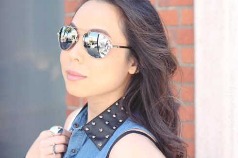 www.HautePinkPretty.com - An Dyer wearing Forever 21 Faux Leather Collar Denim Shirt, KW 'Rush' Mirrored Aviator Sunglasses