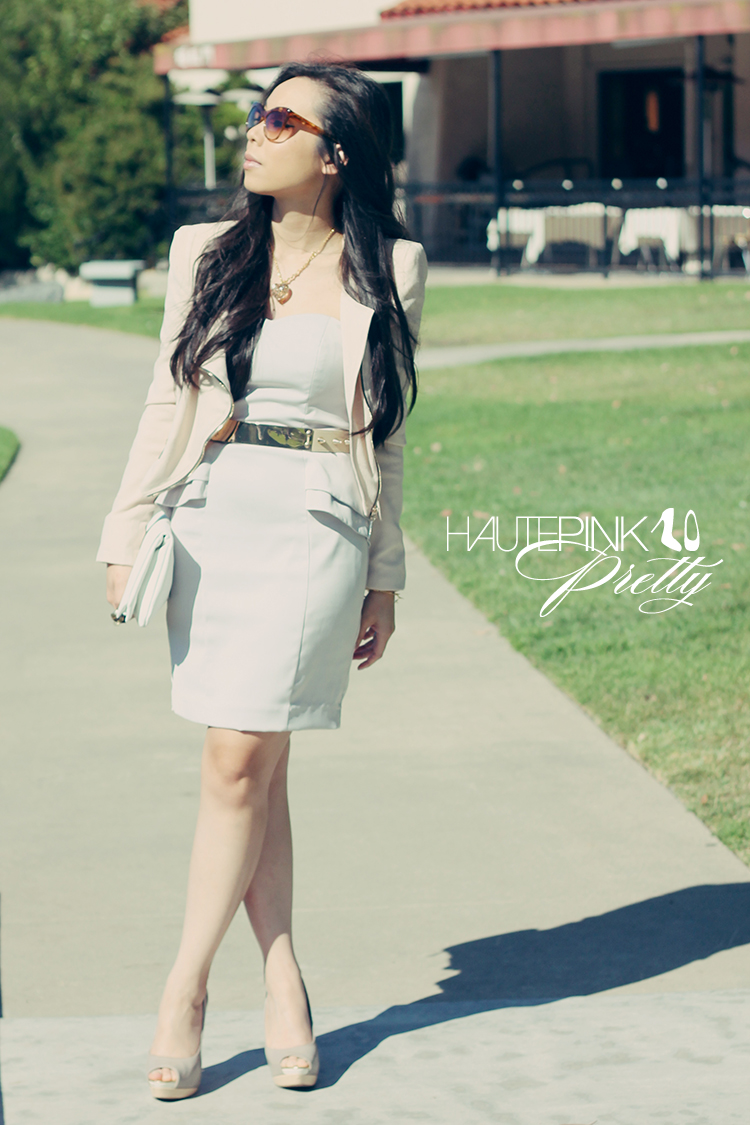 9fbbcdd13ff Elizabeth   James Sunglasses + Lucy Paris Jacket + H M Peplum Dress + Sole  Society Shoes + Hauskrft Bag