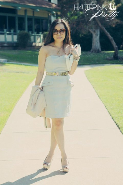 www.HautePinkPretty.com - An Dyer Wearing Lucy Paris Cream Asymmetric Jacket, H&M Light Grey Strapless Peplum Dress, SoleSociety Tori Peep-toe Platforms, Hauskrft White Pebbled Leather Clutch, Elizabeth & James Lafayette Sunglasses, ASOS Plate And Spike Waist Belt, Louis Vuitton Monogram Inclusion Heart Necklace