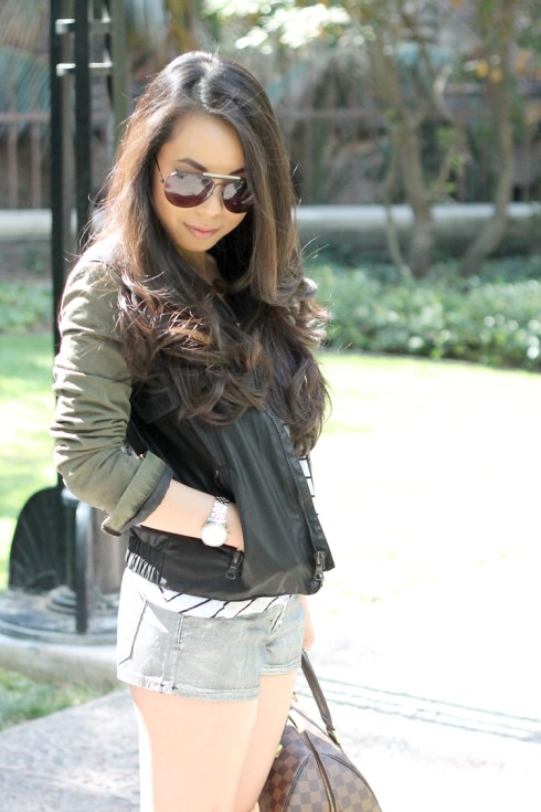 www.HautePinkPretty.com - An Dyer wearing Zara Combined Sleeve Jacket Military Green Camo Leather, Celine Paris Aviator Sunglasses, H&M Striped Trapeze Tank, Forever 21 Silver Metallic Shorts, Silver Spiked Bracelet, Nordstrom Pewter Crystal Rhinstone Belt,  Decree Hinged Wrap Ring, Michael Kors Mother of Pearl Chronograph Watch