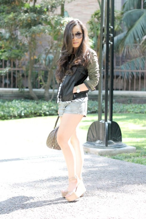 www.HautePinkPretty.com - An Dyer wearing Zara Combined Sleeve Jacket Military Green Camo Leather, Celine Paris Aviator Sunglasses, H&M Striped Trapeze Tank, Forever 21 Silver Metallic Shorts, Silver Spiked Bracelet, Nordstrom Pewter Crystal Rhinstone Belt,  Decree Hinged Wrap Ring, BCBGeneration Lee Flatforms in Nude Patent leather