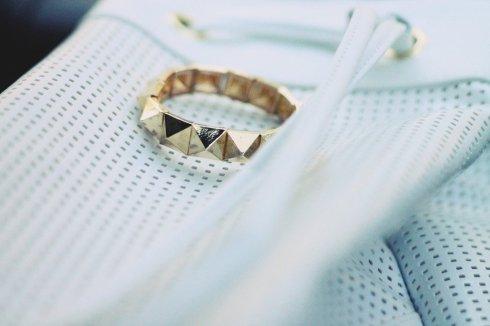 Asos Airtex Duffel Bag White Bag & Zaza Boutique Gold Pyramid Bracelet