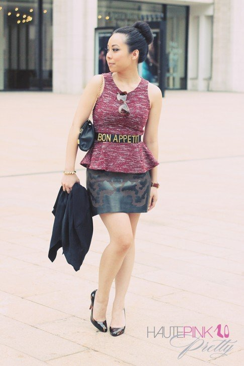 www.HautePinkPretty.com - An Dyer wearing TopShop Burgundy Sleeveless Boucle Peplum Top & Black Metal Bar Insert Clutch Bag, Friend of Mine Bon Appetit Belt & Leather Skull Print Skirt, Christian Louboutin Decollette Glittart Shoes, TopKnot Donut Bun