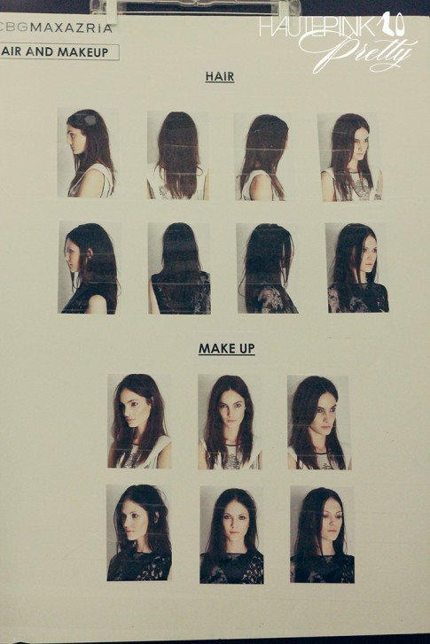 BCBGMaxazria Runway SS13 Backstage Behind the Scenes - Hair & Makeup Board