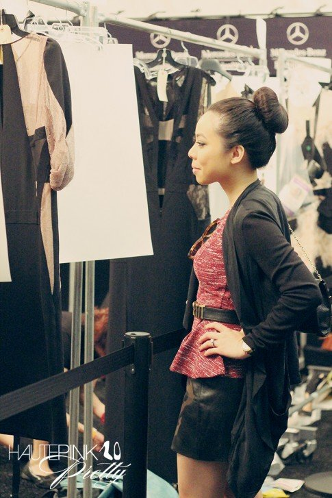 BCBGMaxazria Runway SS13 Backstage Behind the Scenes - An Dyer Checking out the Looks