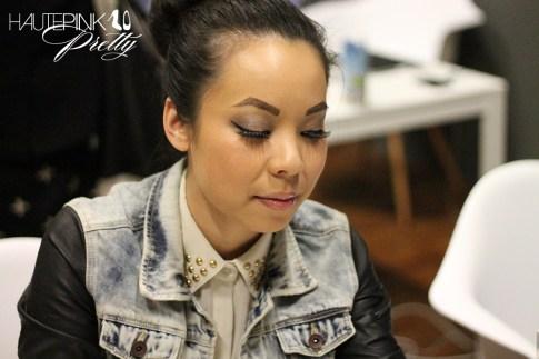 IFBCon 2012 - An Dyer wearing SwayChic Studded Collar Blouse, Zara Combined Denim Leather Jacket, Melie Bianco Darlene Bag, Donut Bun, TopKnot, Forever 21 Burgundy Lace Shorts - Makeup Closeup