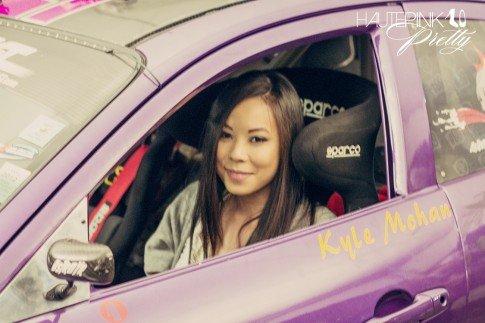 An Dyer sitting inside Kyle Mohan's Mazda RX8 Car Formula D Drift Championships