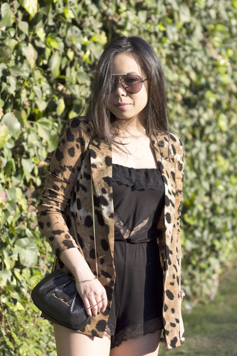 www.HautePinkPretty.com - An Dyer wearing Celine SC1489 Black Aviator Sunglasses, Eberjey Fanny Teddy, ShopWasteland Animal Cheetah Jaguar Print Jacket, Love Moschino Clutch Bag, Sole Society Rumor Boots and Glint & Gleam Sideways cross necklace, arrow bracelet and gold bar two finger ring c/o ShopLately