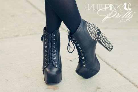 An Dyer wearing Jeffrey Campbell Lita Spike Black Leather from Moo Venice with Black Knee High Trouser Socks