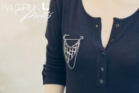www.HautePinkPretty.com - An Dyer wearing LAMade Henley Tunic, Glint & Gleam Dangling Cross Pin - Antique Silver