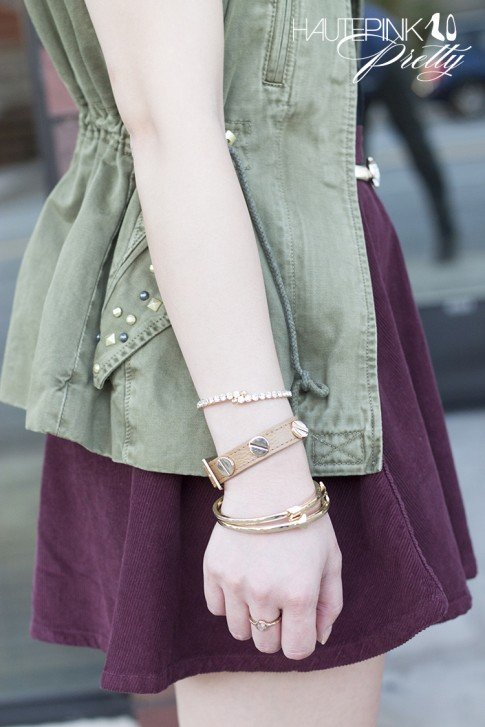 www.HautePinkPretty.com - An Dyer wearing Zara Studded Military Green Camo Vest, American Apparel Truffle Corduroy Circle Skirt, Glint & Gleam HautePinkPretty's Bolted Leather Bracelet in Khaki, Right Direction Bangle Set and Finishing Touch Cuff c/o ShopLately, Asos Jaguar Belt