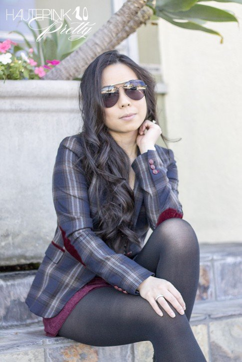 www.HautePinkPretty.com - An Dyer wearing Celine SC1489 Black Aviators, Zara Checked Blazer with Oxblood Elbow Patches, Forever 21 Burgundy Maroon Oxblood Lace Shorts & Black Rosary Necklace, Glint & Gleam silver accessories c/o shoplately, opaque black tights
