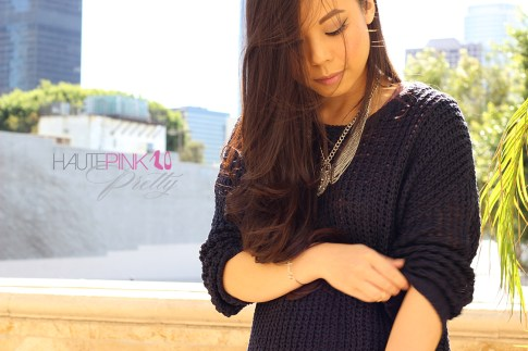www.HautePinkPretty.com - An Dyer wearing ShopPublik Cozy Navy Knit Pullover Sweater, Multi-chain Statement Jewel Necklace, Silver Gold Spike Crystal Bracelet & Horizontal Cross Bracelet