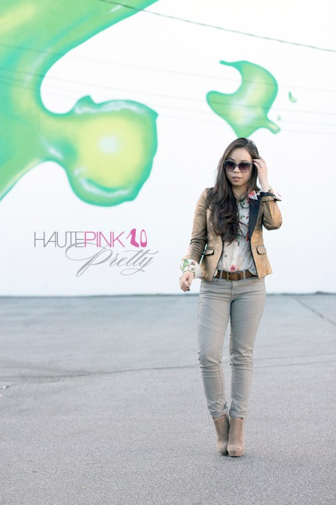 www.HautePinkPretty.com - An Dyer wearing Gemstone Nail Wraps c/o NCLA, Zara TRF Collection Bronze Blazer and Coated Waxed Grey Moto Pants, Forever 21 Floral Studded Blouse, Surrounded by Sparkle Diamond Pendant Necklace c/o Anjolee, Striped Sunglasses c/o Vigoss Eyewear,  BCBGeneration Joesana Boots in Dark Spice, Glint & Gleam Silver Stack'em Accent Ring Set, Structured Chain Cuff and Nailed It Bangle c/o ShopLately