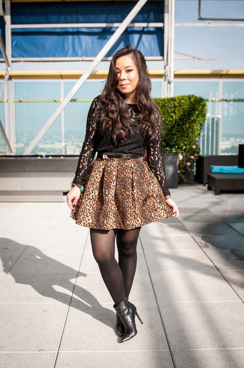 www.HautePinkPretty.com - An Dyer wearing Dress Up Boutique, A'Muse Me Boutique, Zara Leopard Skirt, Lace Top, ShoeMint Abi Boots
