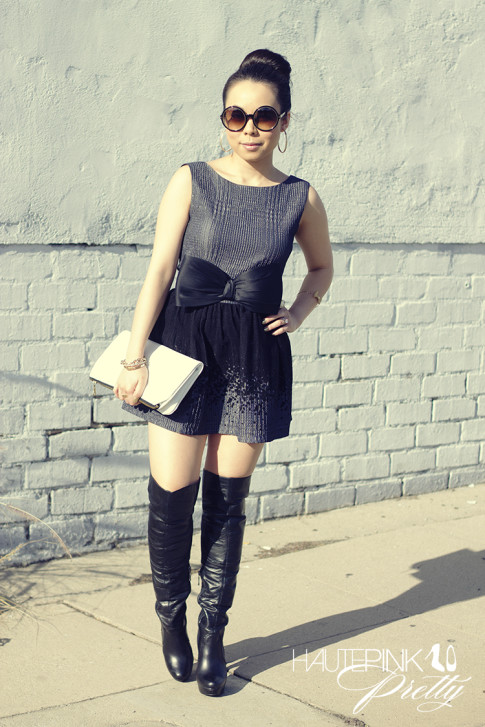 www.HautePinkPretty.com - An Dyer wearing Tom Ford Carrie Sunglasses, AGAIN Chaplin Dress, H&M Giant Bow Belt, Aldo OTK Over The Knee Boots, HAUSKRFT White Leather Clutch, Vintage Gold Hoop Earrings, Glint & Gleam Mesh Bow Cuff, Call Me Classic Chain Bracelet,  Swerve Cuff, Loving You Ring and Finishing Touch Cuff ShopLately, ChicPeek Champagne Ring