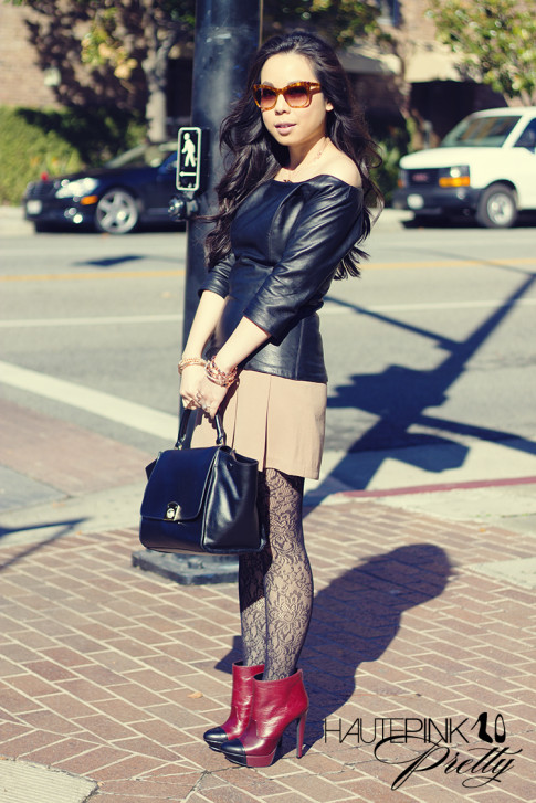 www.HautePinkPretty.com - An Dyer wearing Virginie Villette La Sage Leather Top, Cuore and Pelle Caterina Purse, Jessica Simpson Collection Essas Burgundy Belluci Boots, Glint & Gleam Rose Gold Jewelry from ShopLately, Elizabeth & James Lafayette Sunglasses, Worthington Rose Tights
