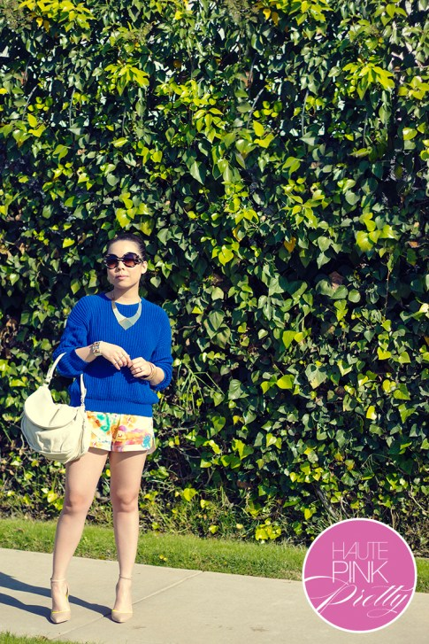 www.HautePinkPretty.com - An Dyer wearing American Apparel Fisherman's Pullover, Allison Chomer Tropics Shorts, Sole Society Francesca in Stucco, Cuore & Pelle Tonia Bag, Glint & Gleam Sleek With Texture Collar Necklace, Get Cuffed Leatherette Cuff, Bar Double Finger Ring Set, Gilded Art Bangle Set, Prada Baroque Sunglasses