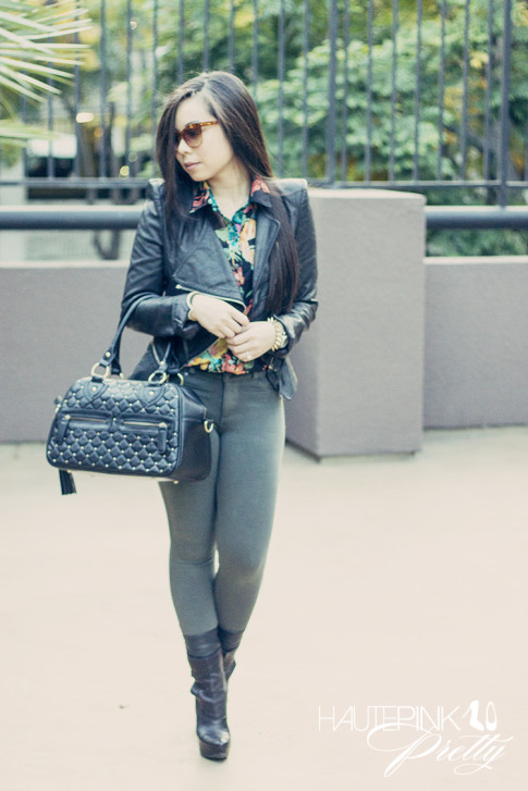 An Dyer wearing Gypsy Junkies Floral Blouse, Denimocracy Moonstone Anarchy Leggings, THEIT Studded Bossi Bag, Vera Wang Lavender Label Fiona Boots, Elizabeth & James Layfayette Sunglasses 5
