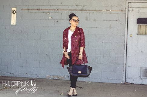 An Dyer wearing Juicy Couture Well Coiffed Belted Trench Coat, Michael Stars Tee, Bleulab Jeans, Elizabeth & James Lafayette Sunglasses, Cuore & Pelle Caterina Trapeze Bag, Sole Society Margie studded