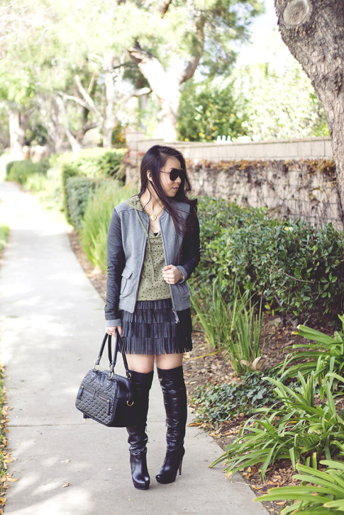 www.HautePinkPretty.com - An Dyer wearing Michael Stars Fleece Leather Sleeve Bomber Jacket, Pima Dolls Perforated Hoodie Tee, Zara Leather Fringe Skirt, Celine SC1489 Aviator Sunglasses, THEIT Studded Bossi Bag, Aldo OTK Over The Knee leather boots, Shop Publik Chunky Lion King Necklace